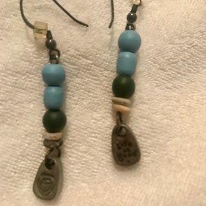 Jewelry - NATIVE INDIAN BLUE GREEN & SILVER dangle earrings